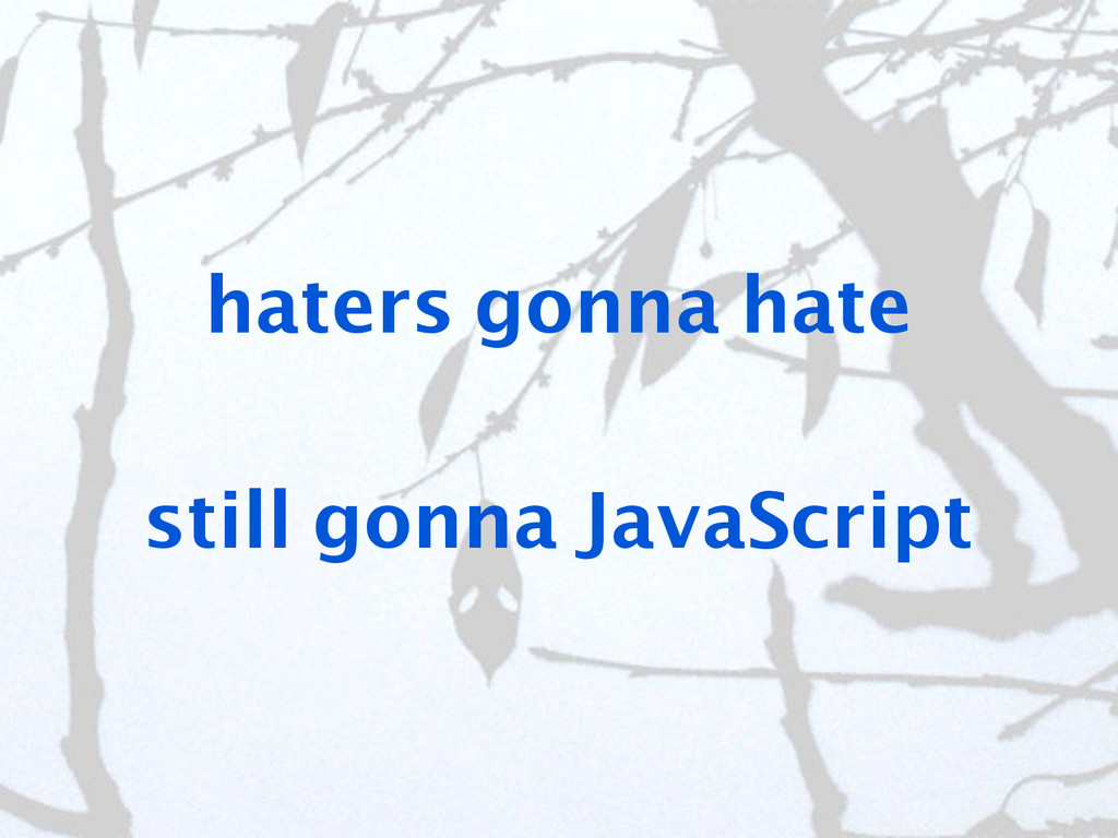 haters gonna hate still gonna JavaScript