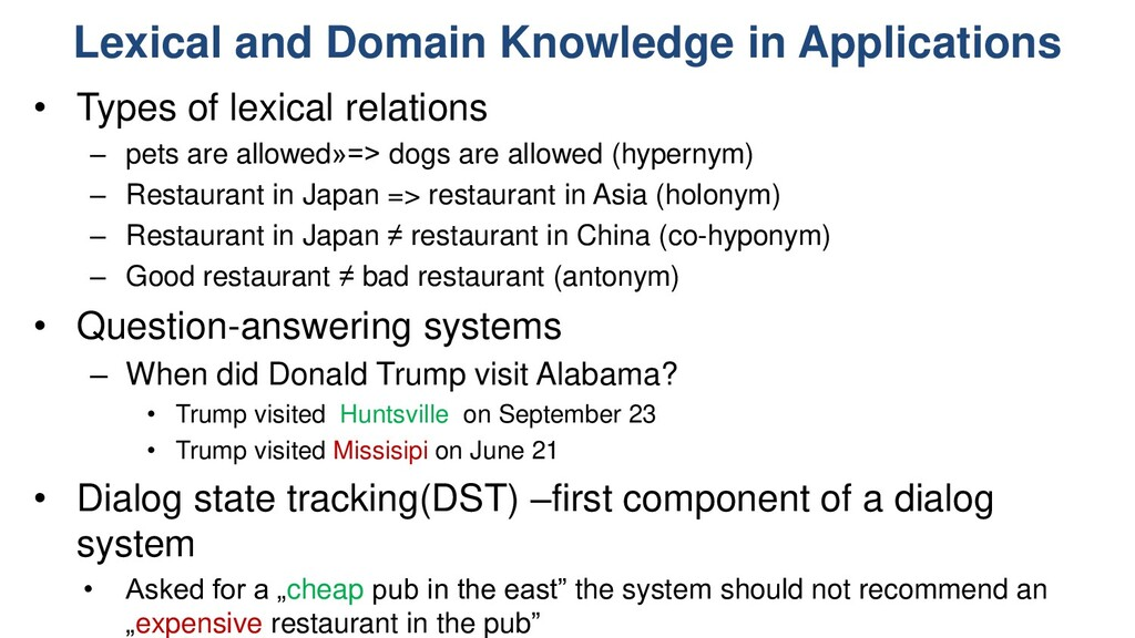 Lexical and Domain Knowledge in Applications • ...
