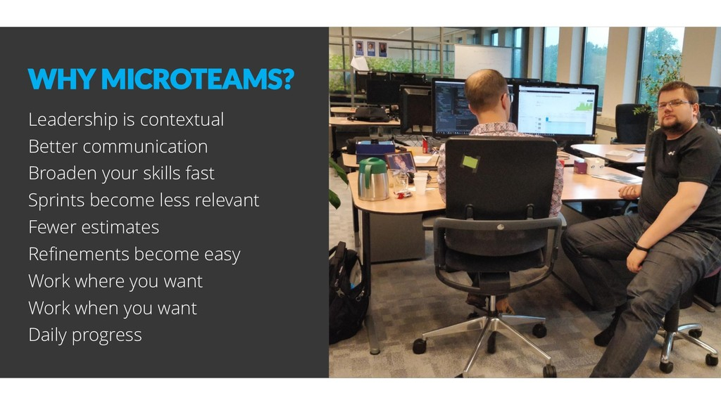 WHY MICROTEAMS? Leadership is contextual Better...