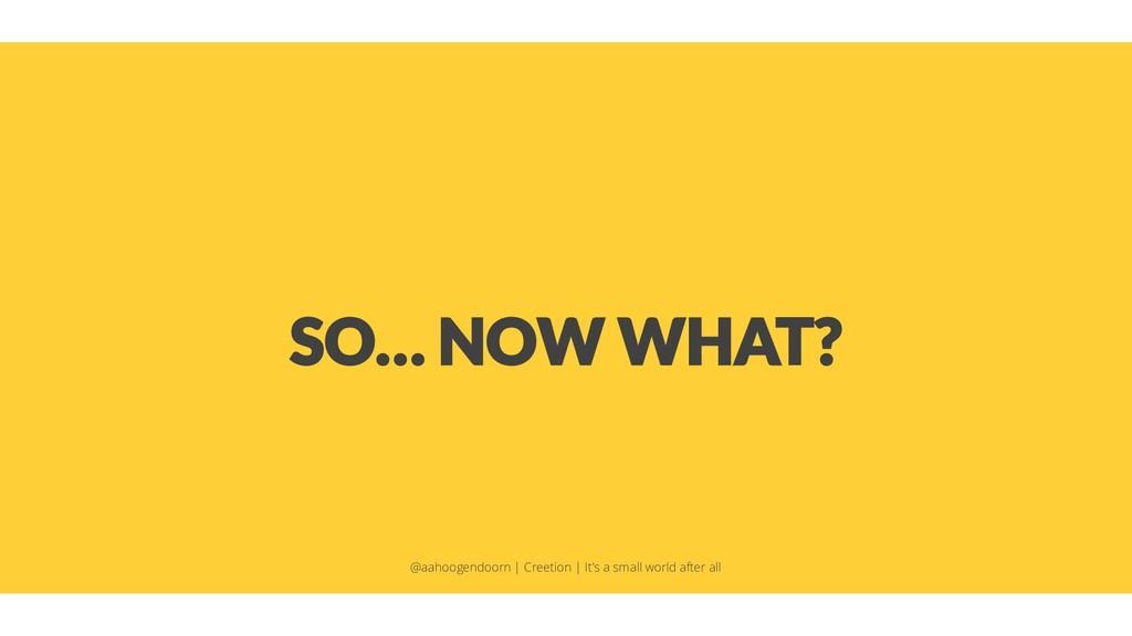 SO… NOW WHAT? @aahoogendoorn | Creetion | It's ...