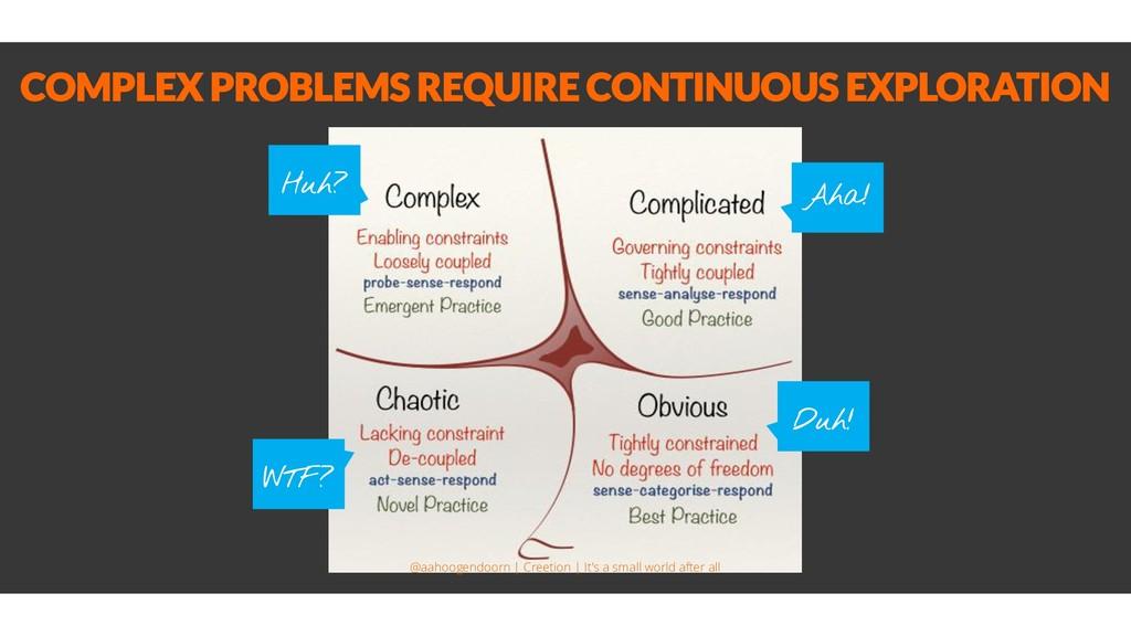 COMPLEX PROBLEMS REQUIRE CONTINUOUS EXPLORATION...