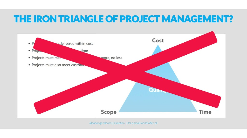 THE IRON TRIANGLE OF PROJECT MANAGEMENT? @aahoo...