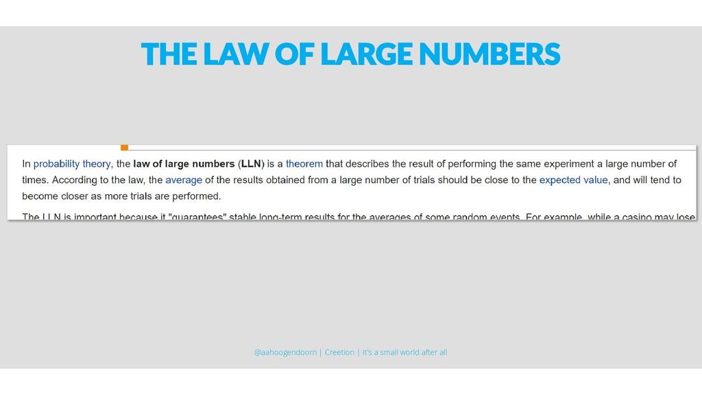 THE LAW OF LARGE NUMBERS @aahoogendoorn | Creet...