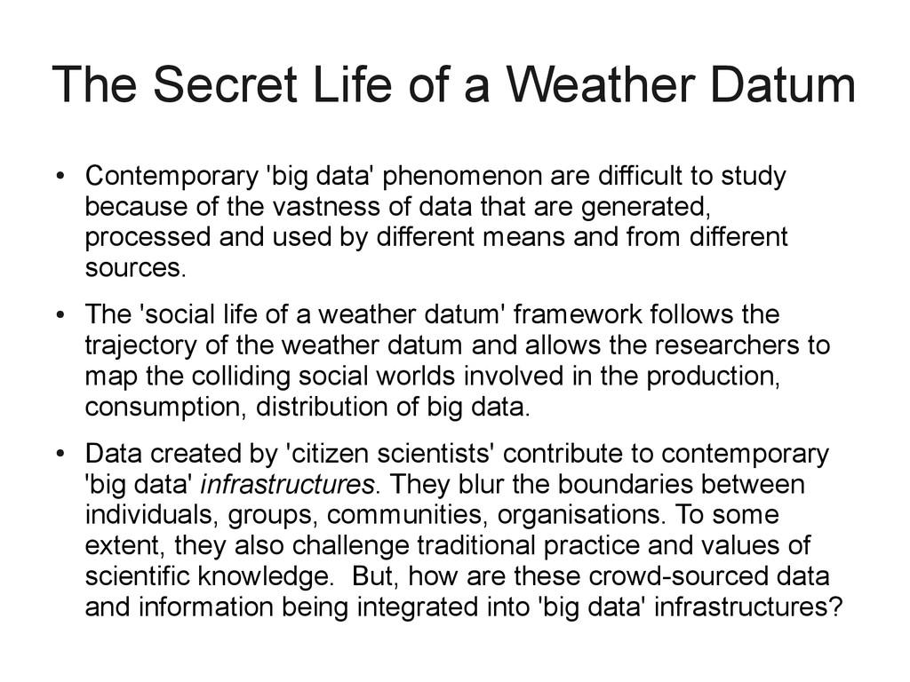 The Secret Life of a Weather Datum ● Contempora...