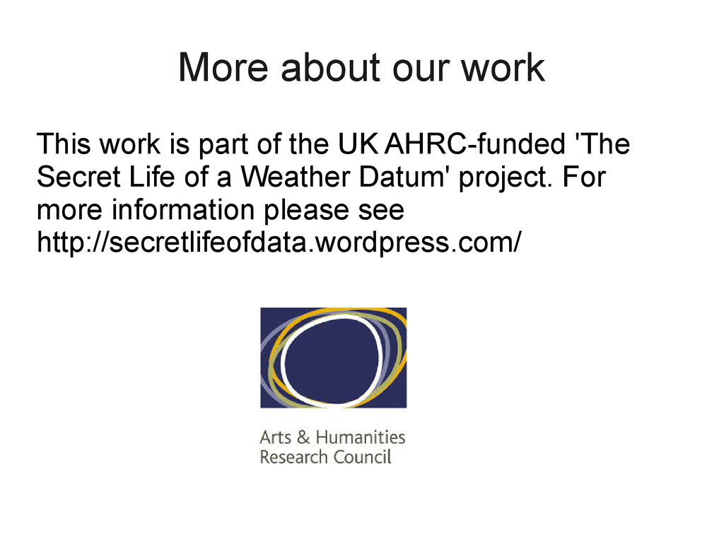More about our work This work is part of the UK...