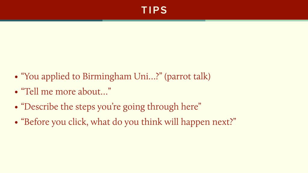 "TIPS • ""You applied to Birmingham Uni…?"" (parro..."