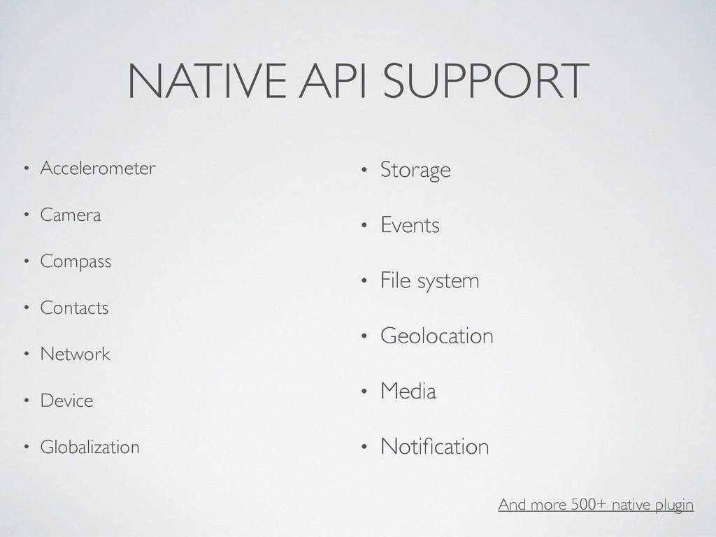 NATIVE API SUPPORT • Accelerometer • Camera • C...