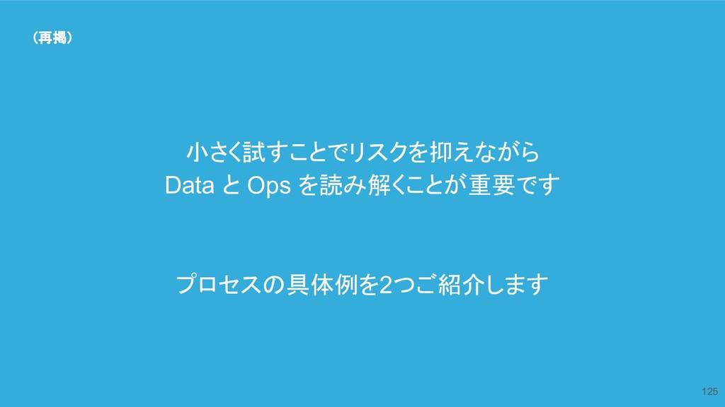 125 (再掲) 小さく試すことでリスクを抑えながら Data と Ops を読み解くことが重...