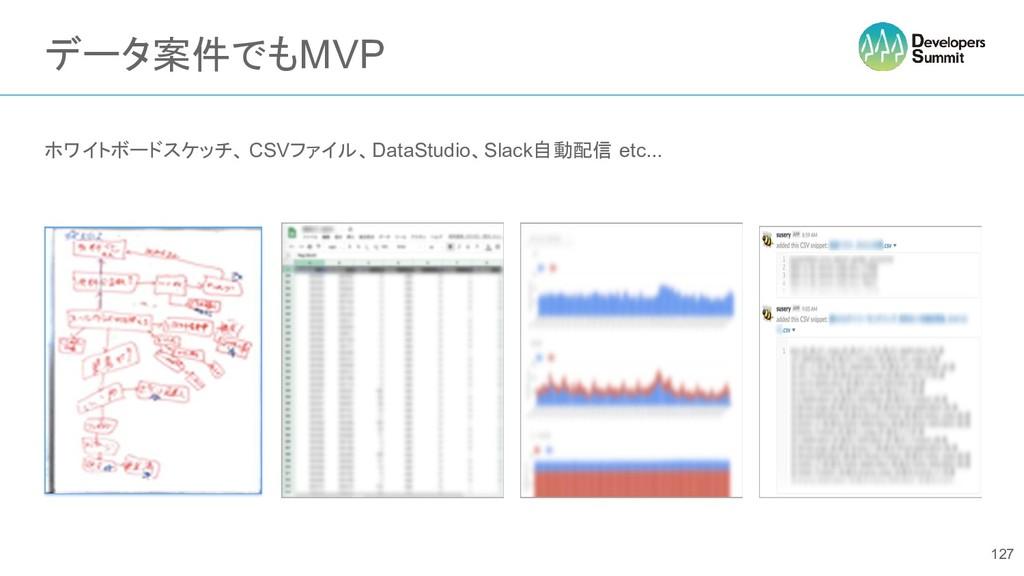 データ案件でもMVP ホワイトボードスケッチ、 CSVファイル、DataStudio、Slac...