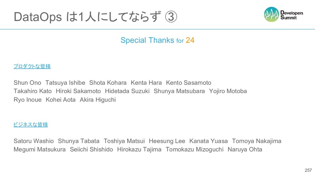 DataOps は1人にしてならず ③ Special Thanks for 24 プロダクト...