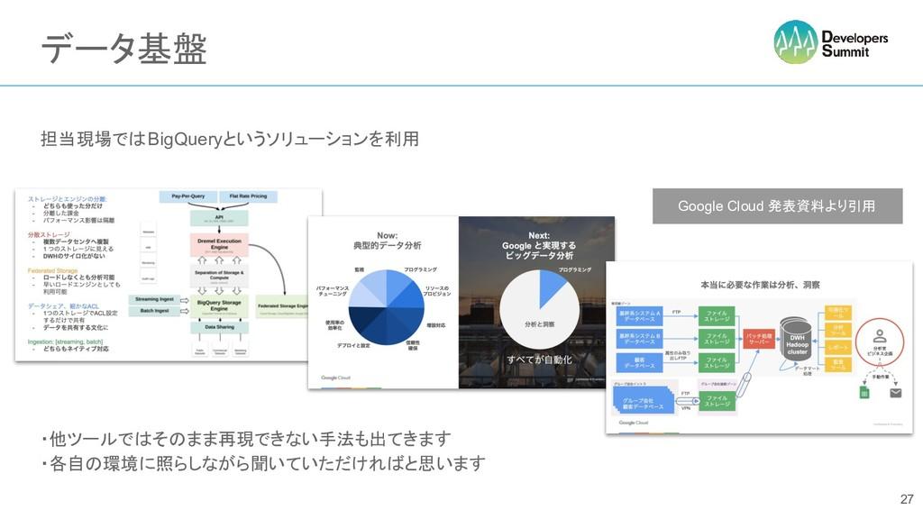 データ基盤 担当現場ではBigQueryというソリューションを利用 ・他ツールではそのまま再現...