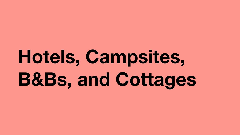 Hotels, Campsites, B&Bs, and Cottages