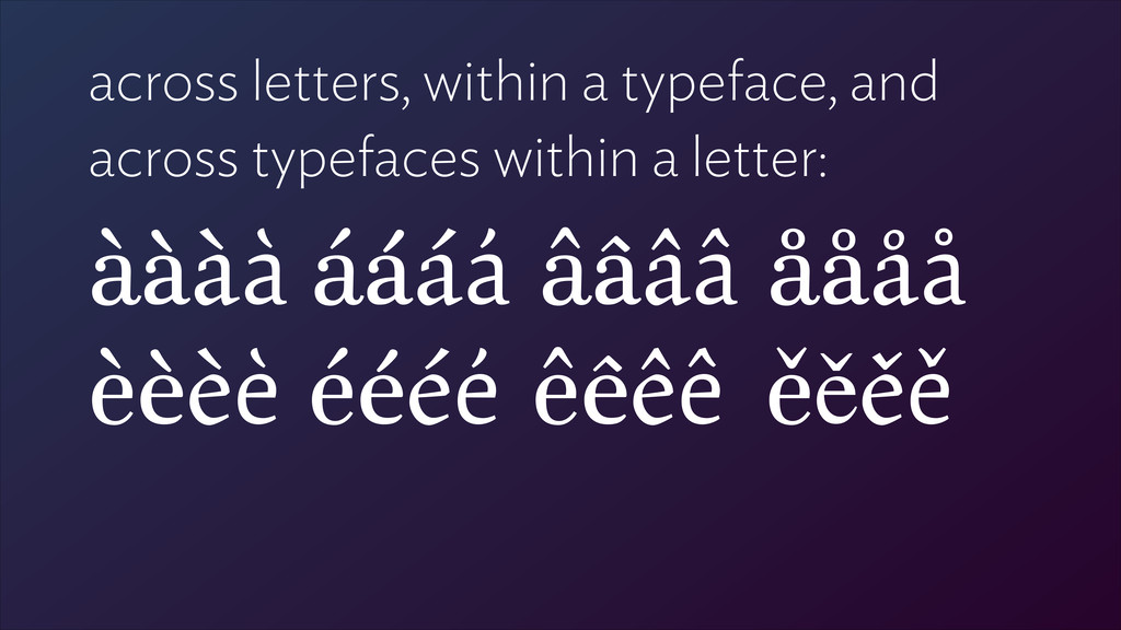 across letters, within a typeface, and across t...