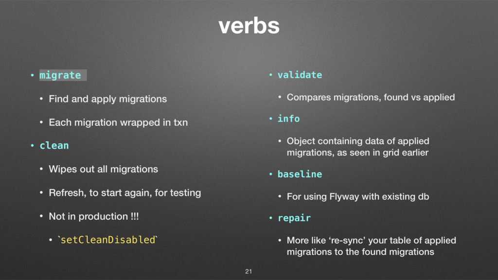 verbs • migrate • Find and apply migrations • E...