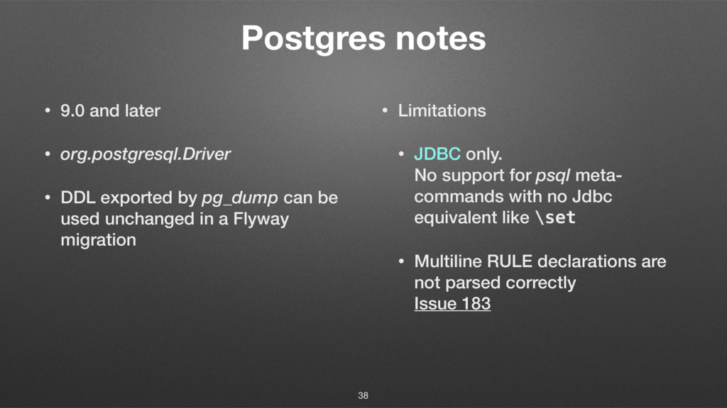 Postgres notes • 9.0 and later • org.postgresql...