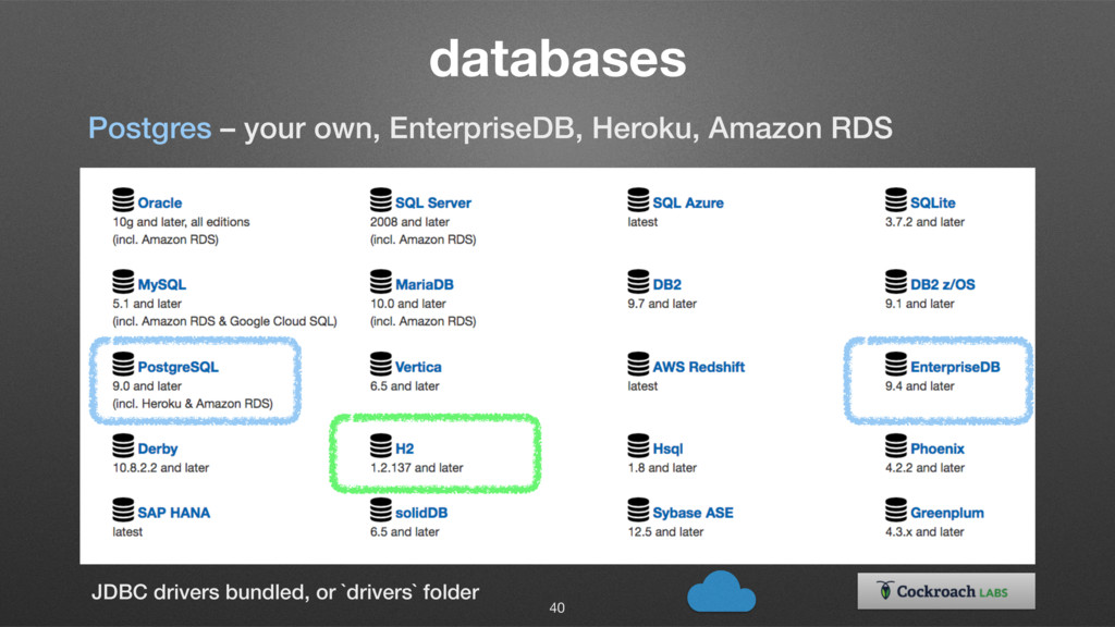 databases 40 Postgres – your own, EnterpriseDB,...