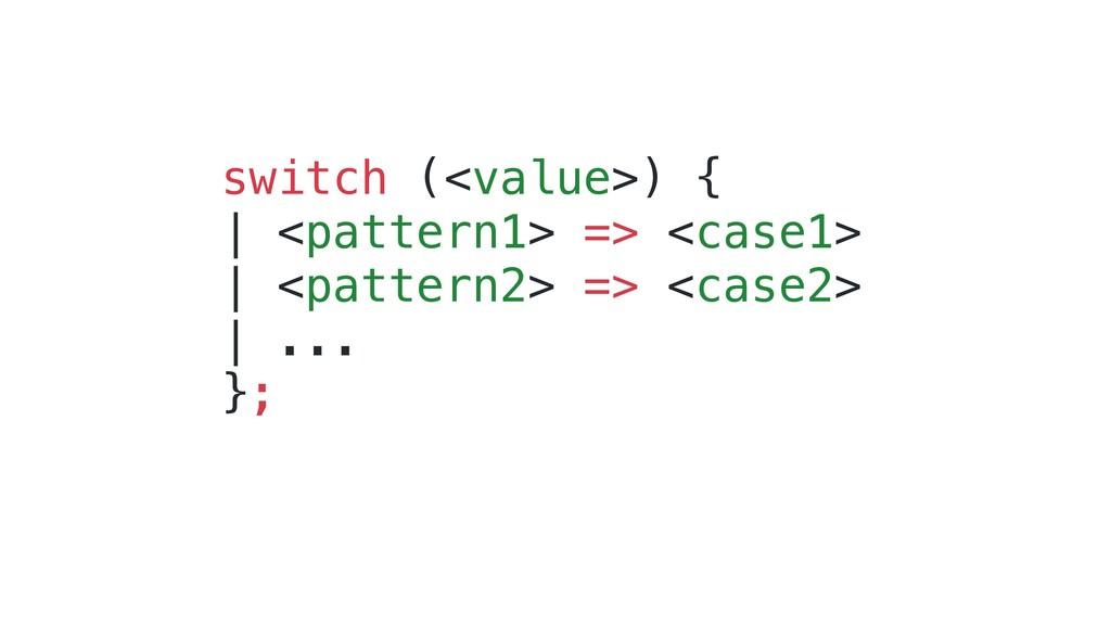 switch (<value>) { | <pattern1> => <case1> | <p...