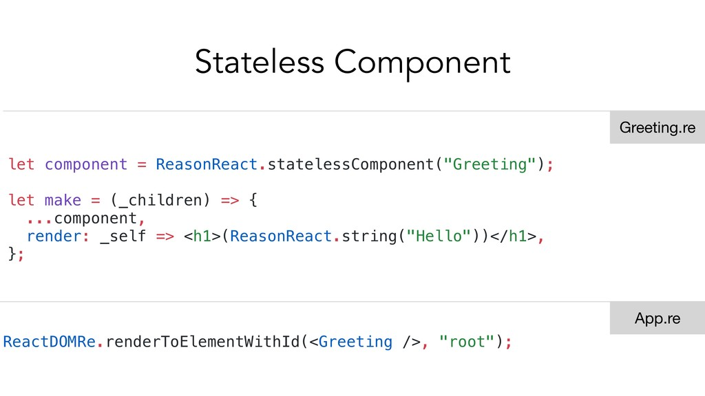 Stateless Component let component = ReasonReact...