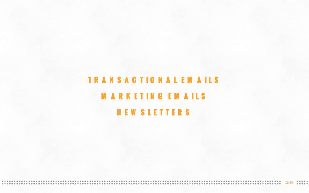 12/69 TRANSACTIONAL EMAILS MARKETING EMAILS NEW...