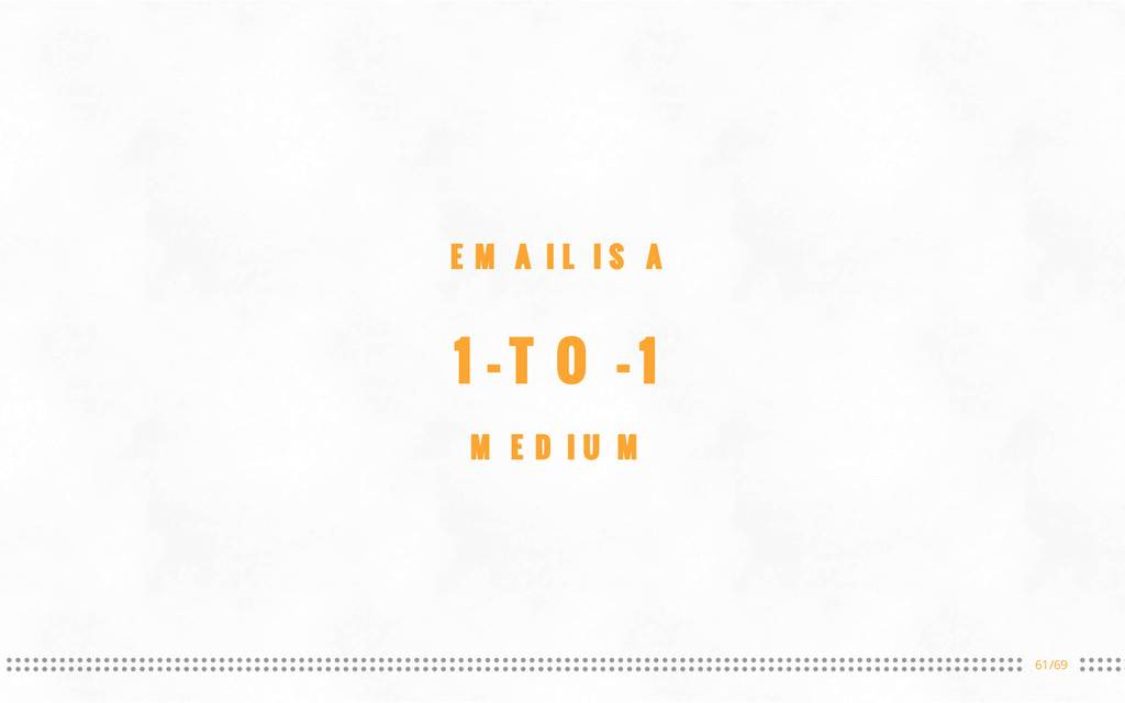 61/69 EMAIL IS A 1-TO-1 MEDIUM