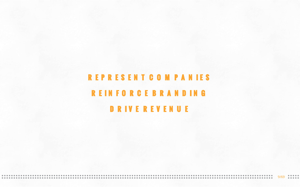 9/69 REPRESENT COMPANIES REINFORCE BRANDING DRI...