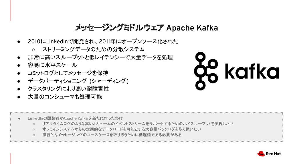 メッセージングミドルウェア Apache Kafka ● 2010にLinkedInで開発され...