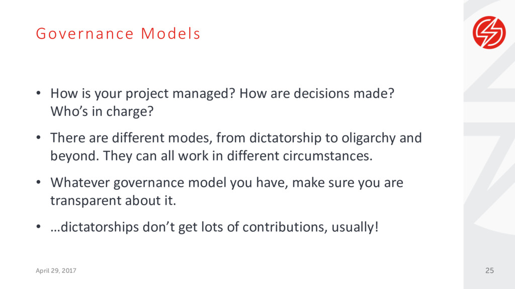 Governance Models April 29, 2017 • How is your ...