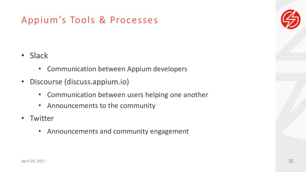 Appium's Tools & Processes April 29, 2017 • Sla...