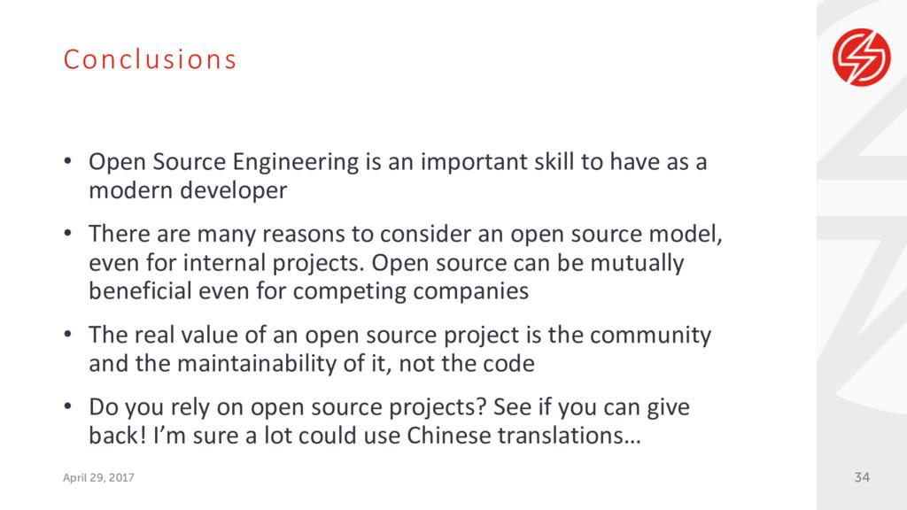 Conclusions April 29, 2017 • Open Source Engine...