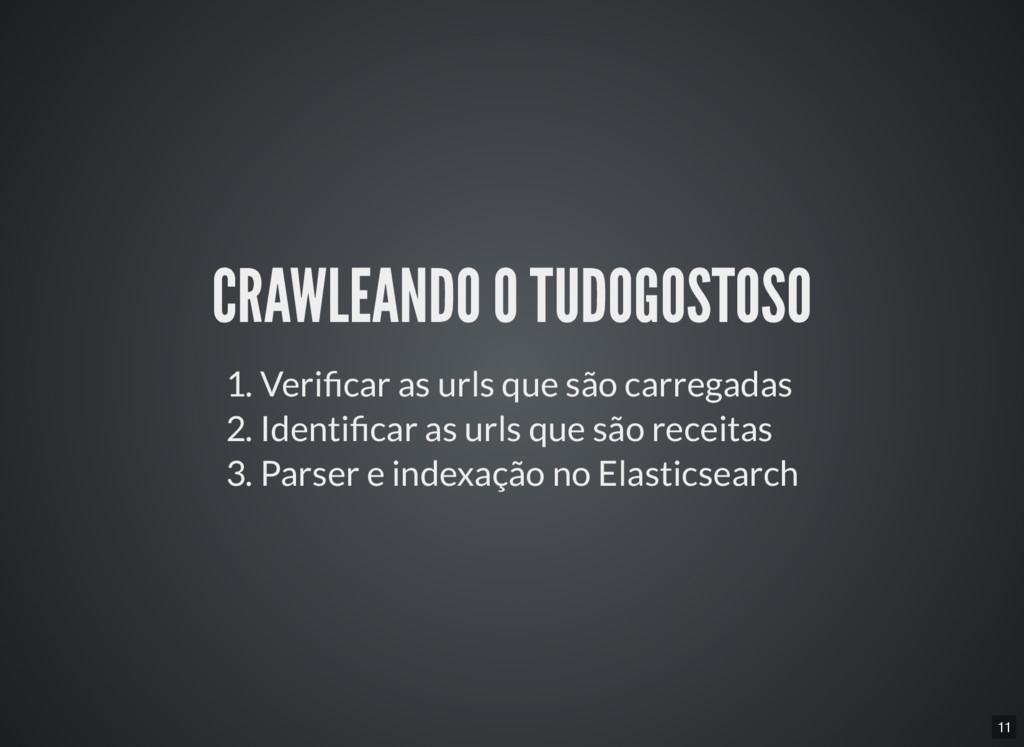 11 CRAWLEANDO O TUDOGOSTOSO 1. Veri car as urls...