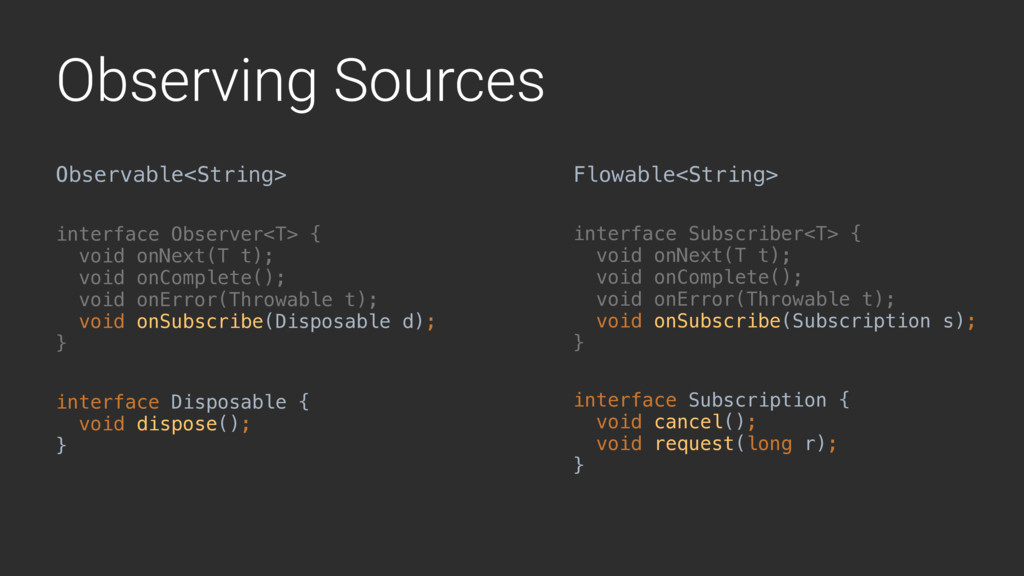 Observing Sources Observable<String> Flowable<S...