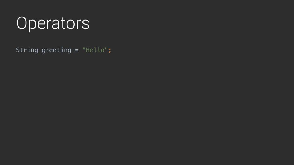 "Operators String greeting = ""Hello"";"