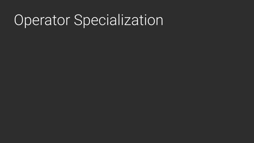 Operator Specialization