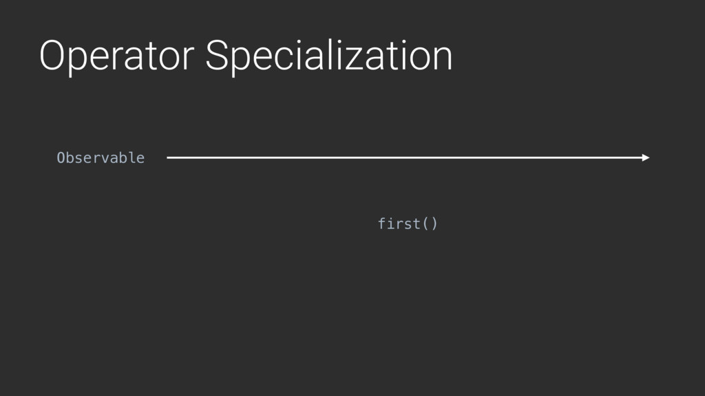 Operator Specialization first() Observable
