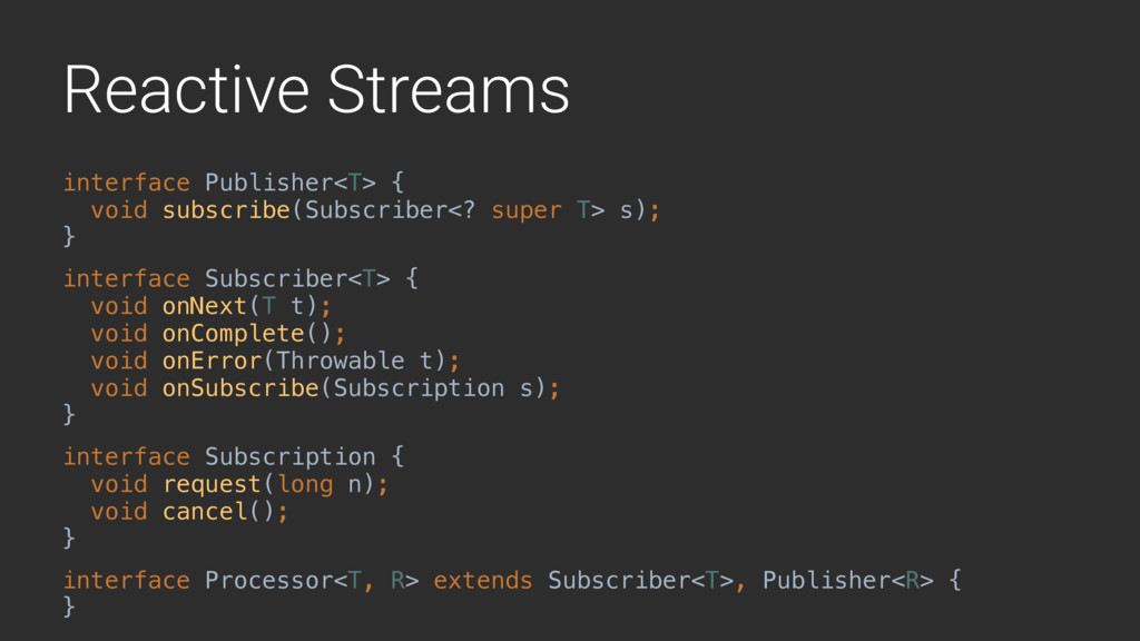 Reactive Streams interface Publisher<T> {