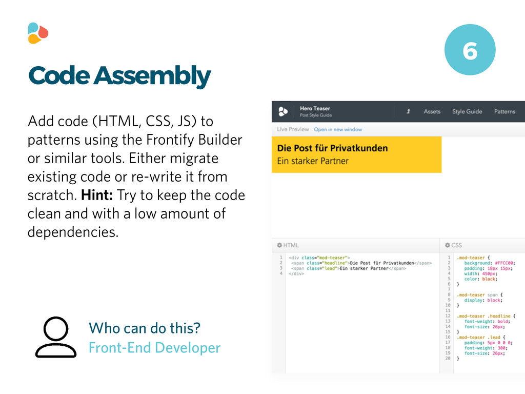 Code Assembly Add code (HTML, CSS, JS) to patte...