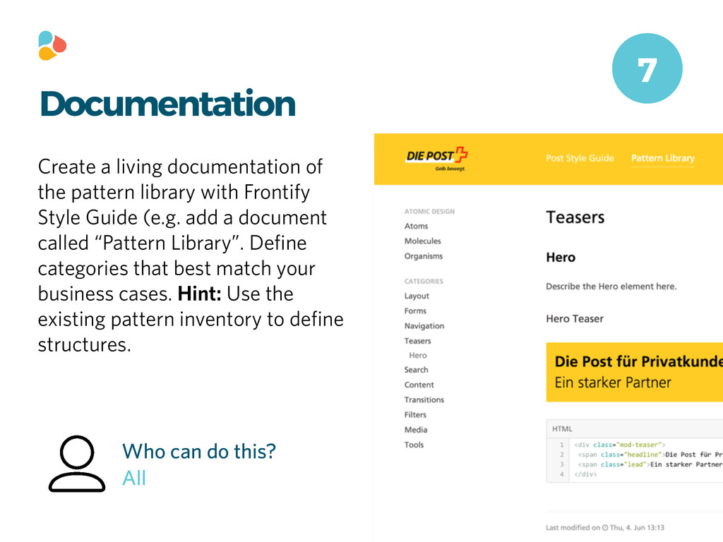 Documentation Create a living documentation of ...