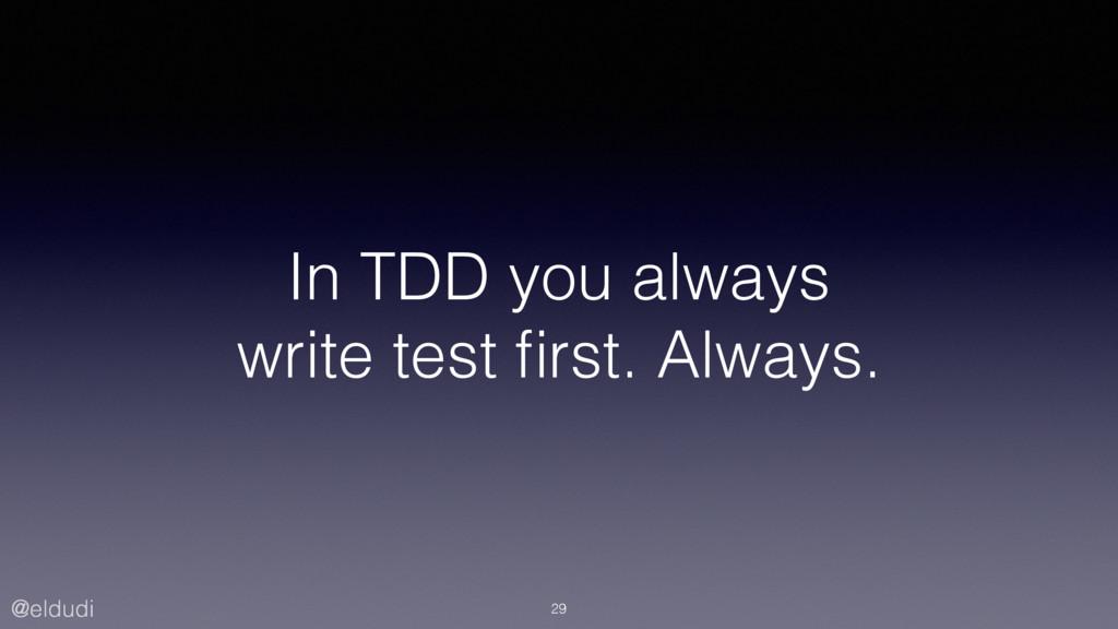 @eldudi In TDD you always write test first. Alwa...
