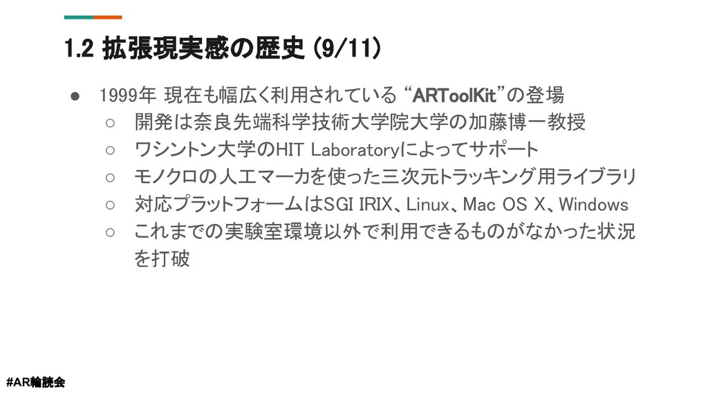 """1.2 拡張現実感の歴史 (9/11) ● 1999年 現在も幅広く利用されている """"ARTo..."""