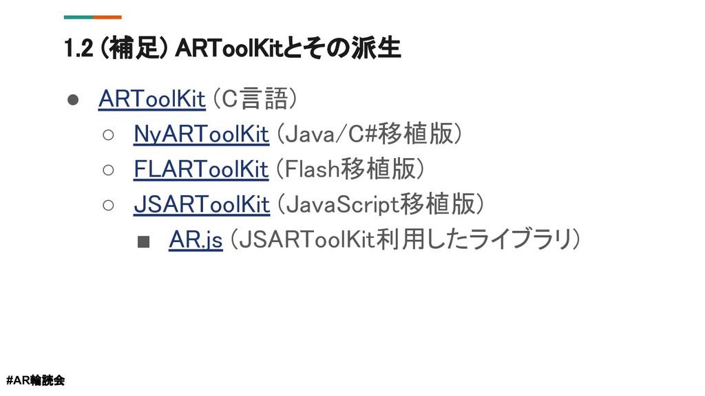 1.2 (補足) ARToolKitとその派生 ● ARToolKit (C言語) ○ NyA...