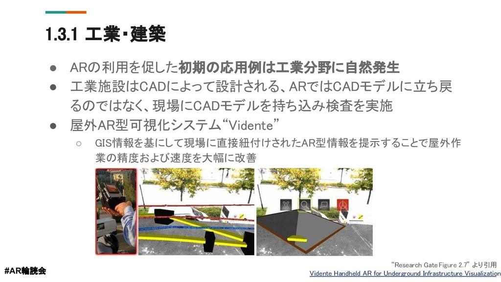1.3.1 工業・建築 ● ARの利用を促した初期の応用例は工業分野に自然発生 ● 工業施設は...