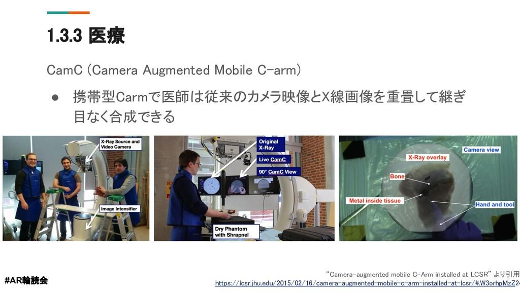 1.3.3 医療 CamC (Camera Augmented Mobile C-arm) ●...