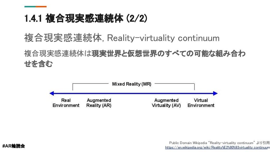 1.4.1 複合現実感連続体 (2/2) #AR輪読会 Public Domain Wikip...