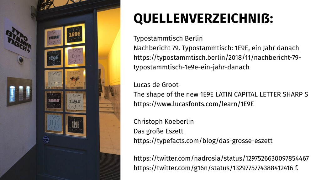 QUELLENVERZEICHNIẞ: Typostammtisch Berlin Nachb...