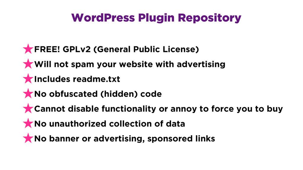 WordPress Plugin Repository ★FREE! GPLv2 (Gener...