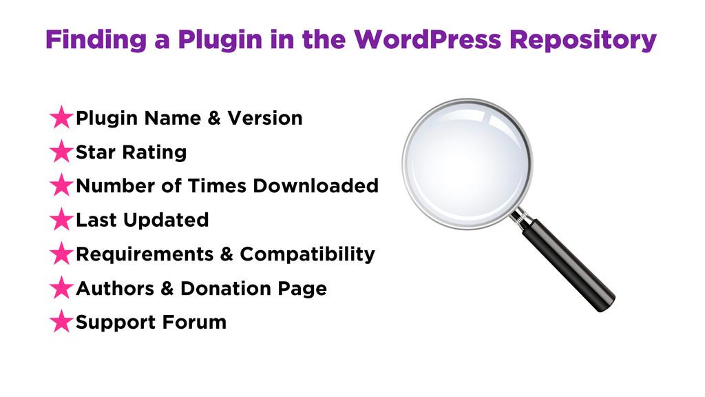 Finding a Plugin in the WordPress Repository ★P...