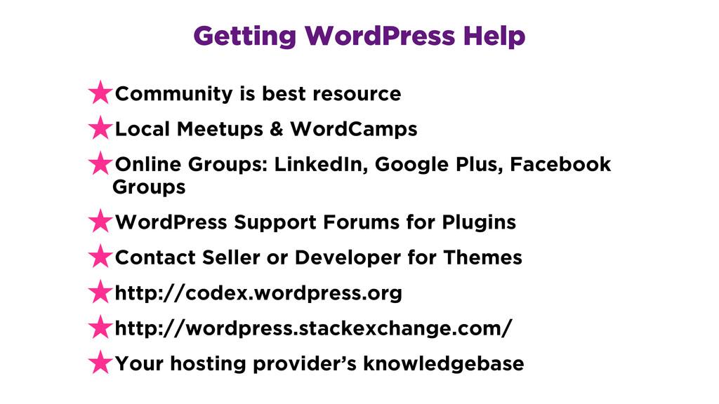 Getting WordPress Help ★Community is best resou...