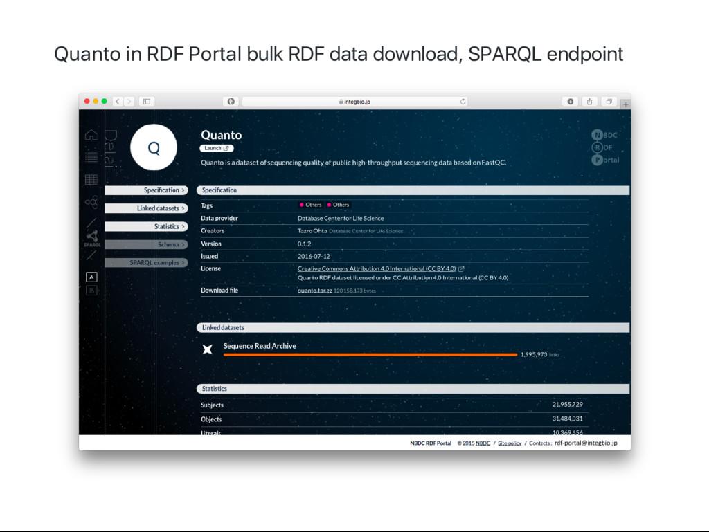 Quanto in RDF Portal bulk RDF data download, SP...