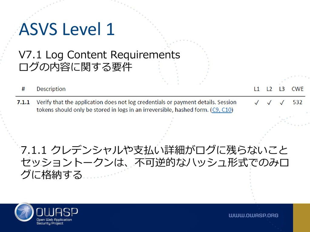 ASVS Level 1 V7.1 Log Content Requirements ログの内...