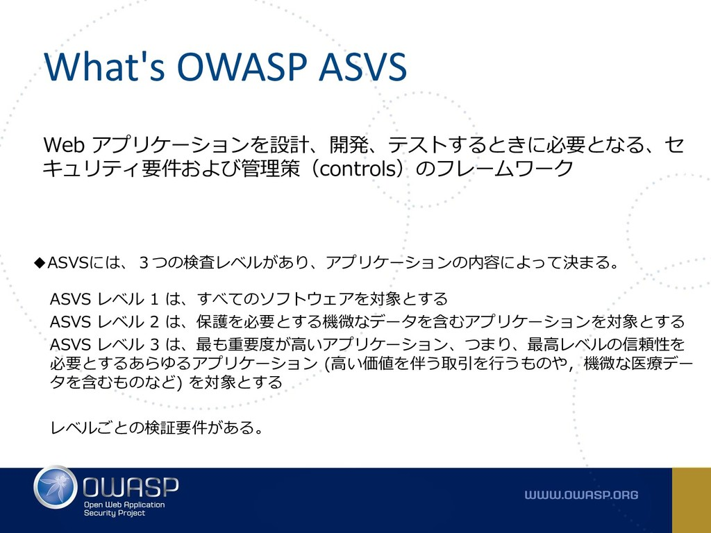 What's OWASP ASVS Web アプリケーションを設計、開発、テストするときに必要...
